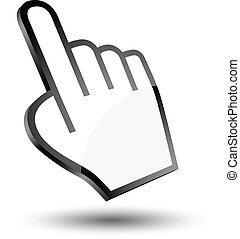cursor, mão, 3d, ícone