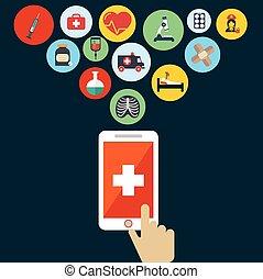cursor., mão, aplicação, vetorial, saúde, abertos, smartphone., ícone