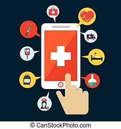 cursor., mão, aplicação, vetorial, saúde, icon., abertos, smartphone.