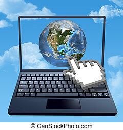 cursor, mão, cliques, internet, nuvem, mundo
