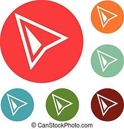 Cursor modern icons circle set vector