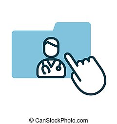 cursor mouse with folder and doctor health online half line style