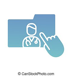 cursor mouse with folder and doctor health online silhouette gradient style