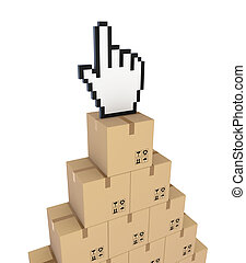 Cursor on a carton boxes.