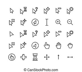 Cursor outline icon set. Vector and Illustration.