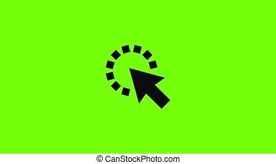 Cursor pixel icon animation best simple object on green screen background