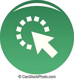 Cursor pixel icon vector green