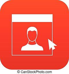 Cursor point man on monitor icon digital red