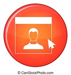 Cursor point man on monitor icon, flat style