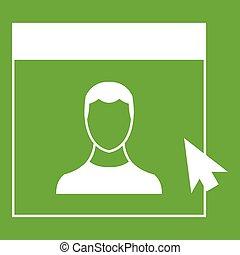 Cursor point man on monitor icon green