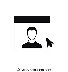 Cursor point man on monitor icon, simple style