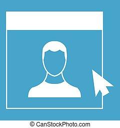 Cursor point man on monitor icon white