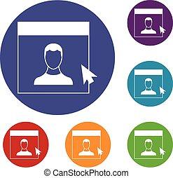 Cursor point man on monitor icons set