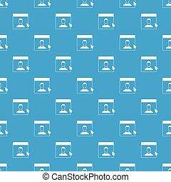 Cursor point man on monitor pattern seamless blue