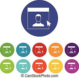 Cursor point man on monitor set icons