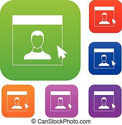 Cursor point man on monitor set collection
