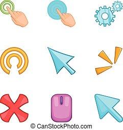 Cursor pointer icons set, cartoon style