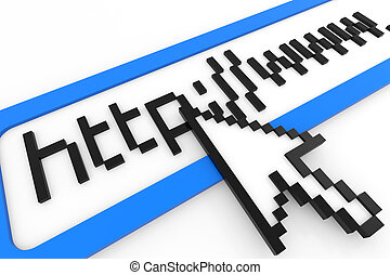 Cursor pointing at http www text. Internet connection concept. Computer generated image.