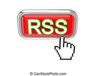 Cursor pushing red RSS button.