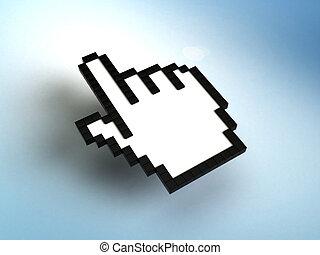 cursor, ratón, mano