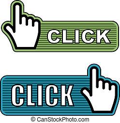 cursor, rayado, vector, etiquetas, mano