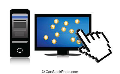cursor, rede, social