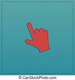 cursor, símbolo, computadora, mano