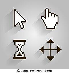 Cursor set pixel arrow hand