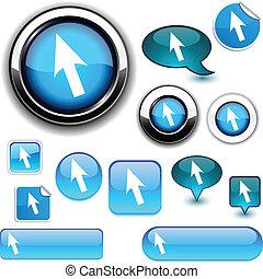 Cursor signs. - .Cursor vector glossy icons. .