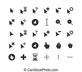 Cursor solid icon set. Vector and Illustration.