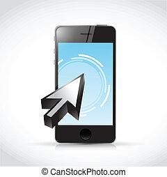 cursor, teléfono, touchscreen, diseño, ilustración
