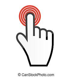 cursor, vector, ratón, ilustración, mano
