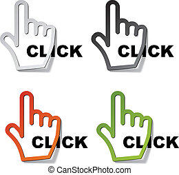 cursor, vetorial, adesivos, clique, mão