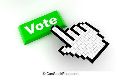 Cursor vote - A white hand cursor push a green button