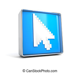 Cursor - web button isolated on white background