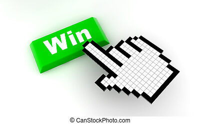 Cursor win - A white hand cursor push a green button