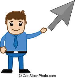 cursor, zakenman, het tonen, richtingwijzer