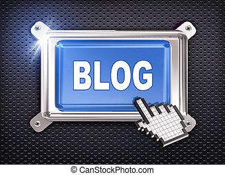 cursore, bottone, -, mano, blog, 3d