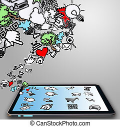 cursore, computer, pixel, tavoletta