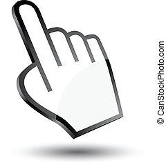 cursore, icona, mano, 3d
