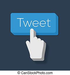 cursore, tweet, mano, bottone, modellato