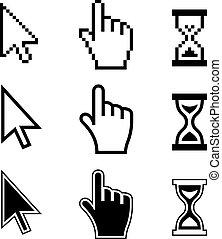 cursores, icons., mano, flecha, pixel, reloj de arena