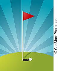 cursus, golf, illustratie
