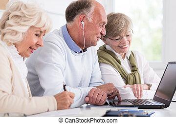cursus, senior, computer, mensen