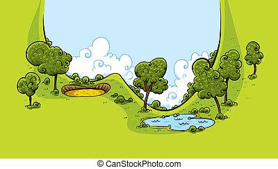 cursus, vallei, golf