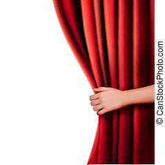 curtain., aksamit, tło, czerwony