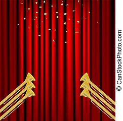 curtain and fanfare - against the backdrop of a red curtain ...