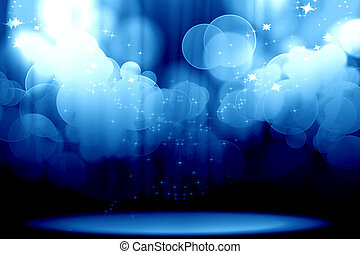 Curtain with spotlights on a blue background