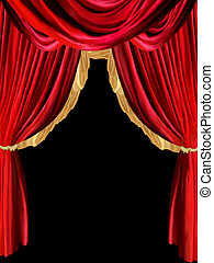 curtain background with golden detail in black background