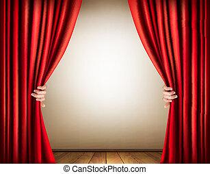 curtain., fond, vector., étape